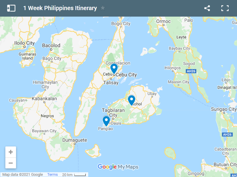 1 Week Philippines Itinerary map