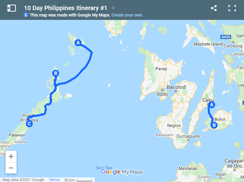 10 Day Philippines Itinerary map