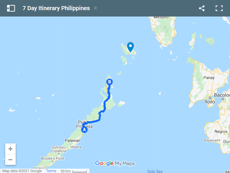 7 Day Itinerary Philippines map