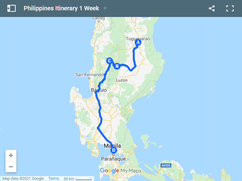 Philippines Itinerary 1 Week map