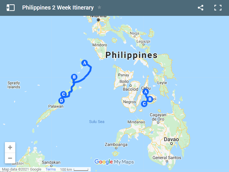 Philippines 2 Week Itinerary map