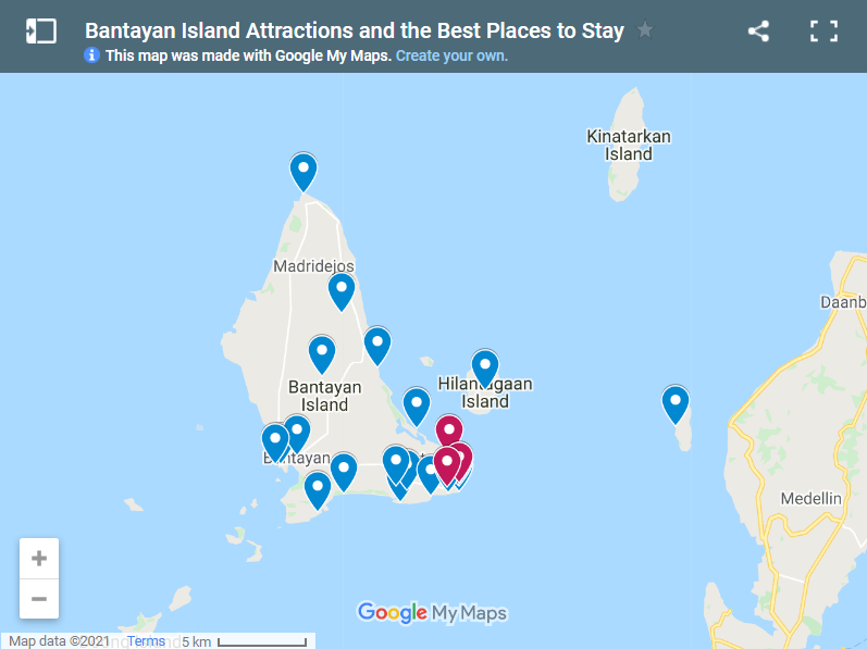 What to do in Bantayan Island map