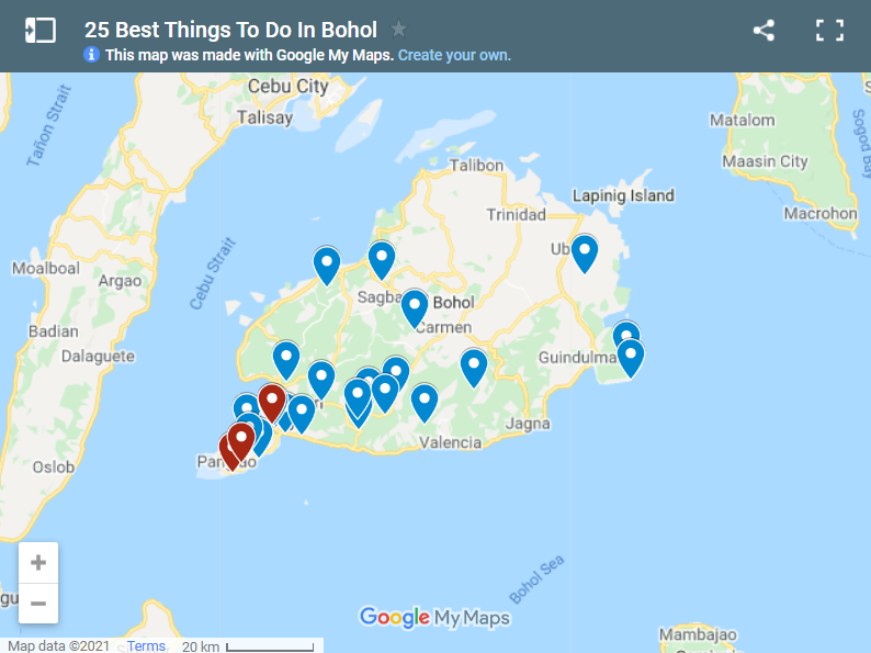 25 Best Things To Do In Bohol map