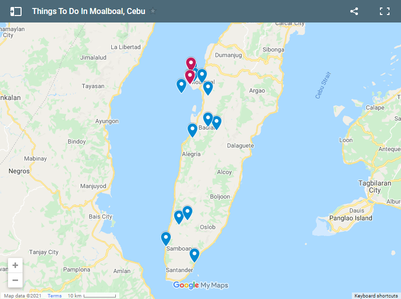 Things To Do In Moalboal, Cebu map